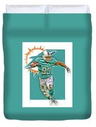 Ndamukong Suh Miami Dolphins Oil Art Duvet Cover