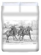 Neck And Neck - Horse Racing Art Print Duvet Cover