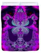 Neon Butterflies And Rainbow Fractal 137 Duvet Cover