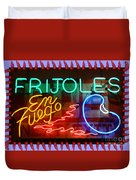 Neon Frijoles And Peppers And Gas Duvet Cover
