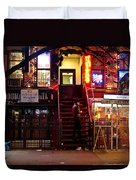 Neon Lights - New York City At Night Duvet Cover by Vivienne Gucwa
