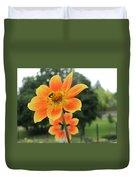 Neon Orange Flower Duvet Cover