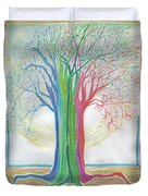 Neon Rainbow Tree By Jrr Duvet Cover