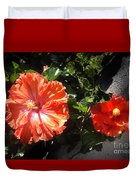 Neon-red Hibiscus Flowers 6-17 Duvet Cover