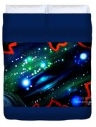Neon Stars, Green Galaxy And Ufo Duvet Cover