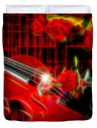 Neons Violin With Roses Duvet Cover