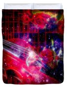 Neons Violin With Roses With Space Effect Duvet Cover