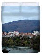 Neretva River And Mostar City And Hills With Mosque Minaret Bosnia Herzegovina Duvet Cover