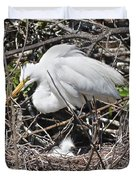 Nesting Great Egret With Chick Duvet Cover