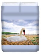 Nesting Mute Swan At Abbotsbury - Impressions Duvet Cover