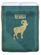 Nevada State Facts Minimalist Movie Poster Art Duvet Cover