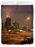 Never Sleeping Atlanta In Motion Midtown Light Trails Art Duvet Cover