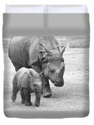 New Born Rhino And Mom Duvet Cover