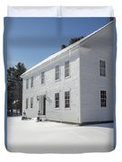 New England Colonial Home In Winter Duvet Cover