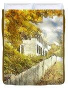 New England Fall Foliage Pencil Duvet Cover