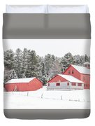 New England Farm With Red Barns In Winter Duvet Cover