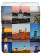 New England Lighthouse Collage Duvet Cover