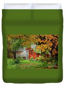 New England Rustic - New England Fall Landscape Red Barn Duvet Cover