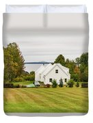 New England Traditional House In The Fall Duvet Cover