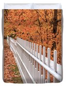 New England White Picket Fence With Fall Foliage Duvet Cover