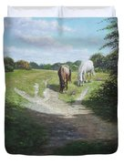 New Forest Horses With Light And Shade  Duvet Cover by Martin Davey