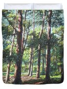 New Forest Trees With Shadows Duvet Cover