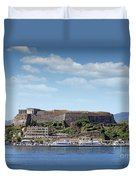 new fortress and port Corfu town Greece Duvet Cover