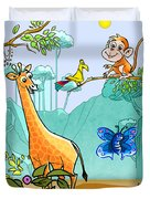New Friends In The Jungle Duvet Cover