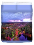New Hampshire Fall Sunset Over Pond Duvet Cover