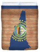 New Hampshire Rustic Map On Wood Duvet Cover