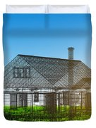 New House Wireframe Project On Green Field Duvet Cover