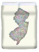 New Jersey Line Art Map Duvet Cover