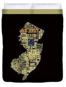 New Jersey Typographic Map 4g Duvet Cover