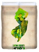 New Jersey Watercolor Map Duvet Cover