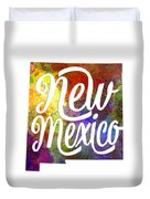 New Mexico Us State In Watercolor Text Cut Out Duvet Cover