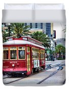 New Orleans Canal Streetcars  Duvet Cover