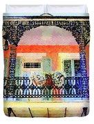New Orleans French Quarter Balcony Duvet Cover