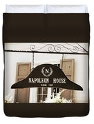 New Orleans Sign - Napoleon House - Sepia Duvet Cover