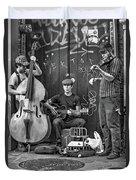 New Orleans Street Musicians Bw Duvet Cover