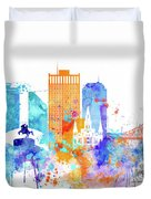 New Orleans Watercolor Skyline Duvet Cover