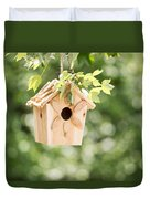 New Wooden Birdhouse Hanging On Tree Branch Outdoors  Duvet Cover