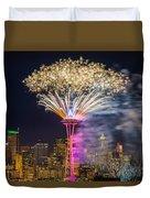 New Year Fireworks - Seattle Duvet Cover