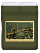 New York And Brooklyn Bridge Opening Night Fireworks Duvet Cover
