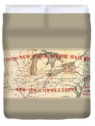 New York And Erie Railroad Map 1855 Duvet Cover