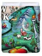New York Cartoon Map Duvet Cover
