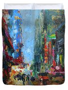 New York City 42nd Street Painting Duvet Cover
