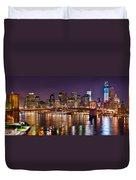 New York City Brooklyn Bridge And Lower Manhattan At Night Nyc Duvet Cover