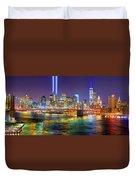 New York City Brooklyn Bridge Tribute In Lights Freedom Tower World Trade Center Wtc Manhattan Nyc Duvet Cover