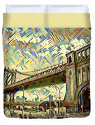 New York City - Brooklyn Bridge Watercolor Duvet Cover