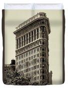 New York City - Flatiron In Sepia Duvet Cover